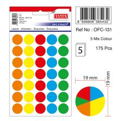 Etichete autoadezive color mix, D19 mm, 175 buc/set, TANEX - culori asortate