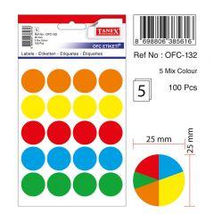 Etichete autoadezive color mix, D25 mm, 100 buc/set, TANEX - culori asortate
