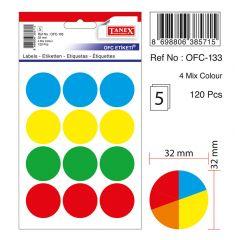 Etichete autoadezive color mix, D32 mm, 60 buc/set, TANEX - culori asortate