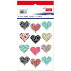 Stickere decorative, 12 buc/fila, 2 file/set, TANEX Kids - inimi