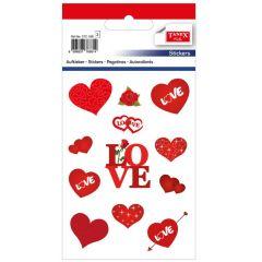 Stickere decorative, 12 buc/fila, 2 file/set, TANEX Kids - inimi + trandafiri