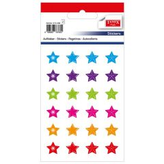 Stickere decorative, 24 buc/fila, 2 file/set, TANEX Kids - stelute cu decor - diverse culori
