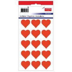 Stickere decorative, 12 buc/fila, 5 file/set, TANEX Kids - inimi - rosu fluorescent