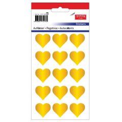 Stickere decorative, 12 buc/fila, 5 file/set, TANEX Kids - inimi - aurii