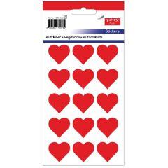 Stickere decorative, 12 buc/fila, 5 file/set, TANEX Kids - inimi - rosu