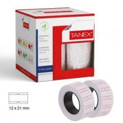Etichete de pret, 21 x 12 mm, adeziv permanent, 800buc/rola, 6 role/set, TANEX - albe