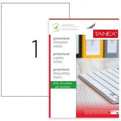 Etichete transparente autoadezive,  1/A4, 210 x 297mm, 25 coli/top, TANEX - colturi drepte