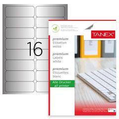 Etichete polyester argintii, autoadezive, 16/A4, 99.1 x 34mm, 25 coli/top, TANEX - colturi rotunjite