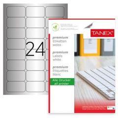 Etichete polyester argintii, autoadezive, 24/A4, 64 x 34mm, 25 coli/top, TANEX - colturi rotunjite