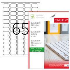 Etichete transparente autoadezive, 65/A4, 38.1 x 21.2mm, 25 coli/top, TANEX - colturi rotunjite