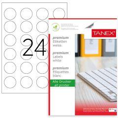 Etichete polyester albe, autoadezive, 24/A4, D40mm - rotunde, 25 coli/top, TANEX