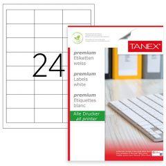 Etichete polyester albe, autoadezive, 24/A4, 64.6 x 33.8mm, 25 coli/top, TANEX - colturi drepte