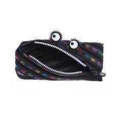 Penar cu fermoar, ZIPIT Monster Special Edition - negru cu dinti curcubeu - EAN 7290106146525