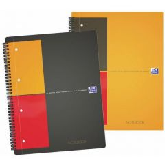 Caiet cu spirala A5+, OXFORD Int. Notebook, 80 file-80g/mp, Scribzee, coperta carton rigid - mate