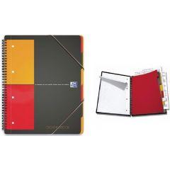Caiet cu spirala A4+, OXFORD Int. Organiserbook, 80 file-80g/mp, Scribzee, 4 perf, coperta PP-mate