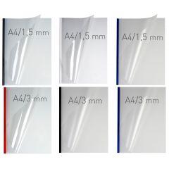 Coperti plastic PVC cu sina metalica 10mm, OPUS Easy Open - transparent mat/albastru