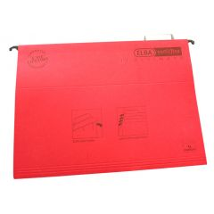 Dosar suspendabil cu eticheta, bagheta metalica, carton 330g/mp, ELBA Verticflex Ultimate - rosu