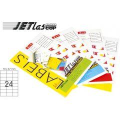 Etichete color autoadezive 24/A4, 70 x 37 mm, 25 coli/top, JETLASCOP - galben