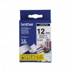 BROTHER TZE231 TAPE 12MM BLK/WHITE