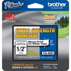 BROTHER TZES231 TAPE 12MM BLK/WHITE/ADH