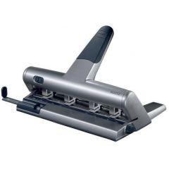 Perforator metalic LEITZ 5114, pentru 4 perforatii, distante reglabile,  30 coli - argintiu