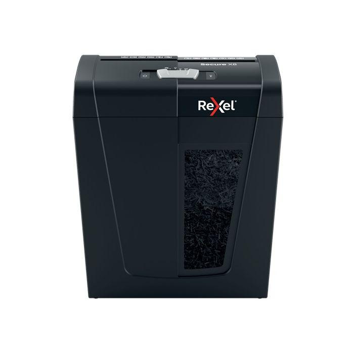 Distrugator documente manual REXEL SECURE X8, P4, cross-cut (confeti), 8 coli, 14l, negru