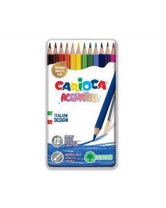 Creioane colorate CARIOCA Acquarell, hexagonale, 12 culori/cutie - cutie metalica