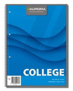 Caiet cu spirala, A4, 80 file - 70g/mp, 4 perf., coperti carton, AURORA College - matematica