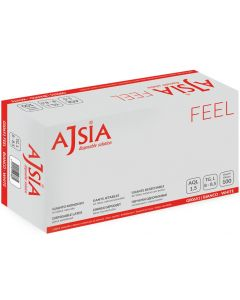 Manusi latex AJSIA Feel, unica folosinta, usor pudrate, 0.10mm, 100 buc/cutie - albe - marime  M