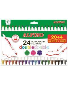 Carioca lavabila, 24 culori/cutie, vaft 2mm/4.5mm, ALPINO Double Double - culori clasice