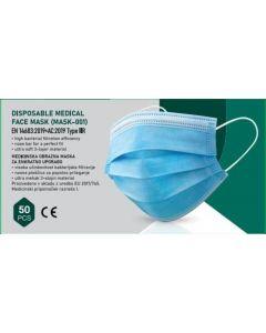 Masca medicala Type IIR - standard EN14683, 3 straturi, unica folosinta, 50 buc/set - alb/albastra
