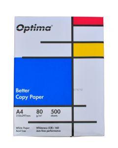 Hartie alba pentru copiator  A4, 80g/mp, clasa B, 500coli/top, Optima